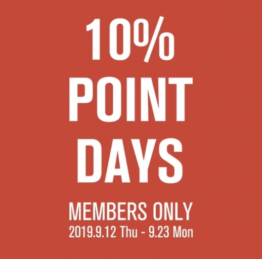 10% POINT DAYSを開催いたします!