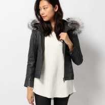 HOOD FUR PATCH LETHER HOODY JACKET